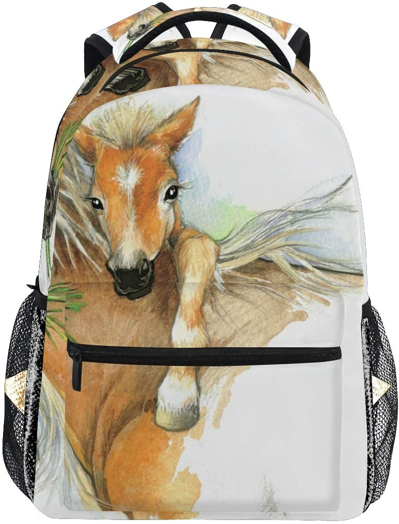 School Backpack Horse and Foal Bookbag for Boys Girls Teens Casual Travel Bag Computer Laptop Daypack