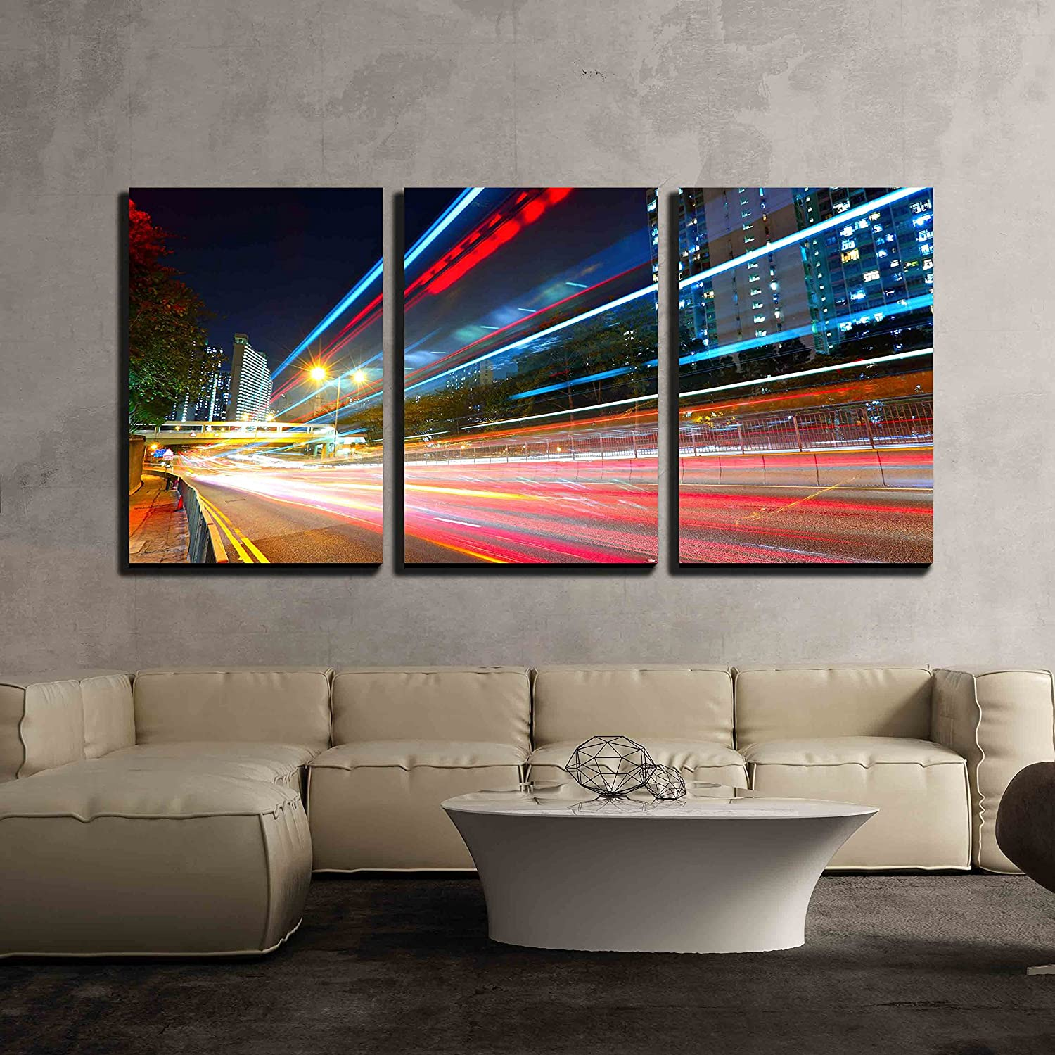 wall26 - 3 Piece Canvas Wall Art - Traffic at City in Night - Modern Home Art Stretched and Framed Ready to Hang - 16x24x3 Panels