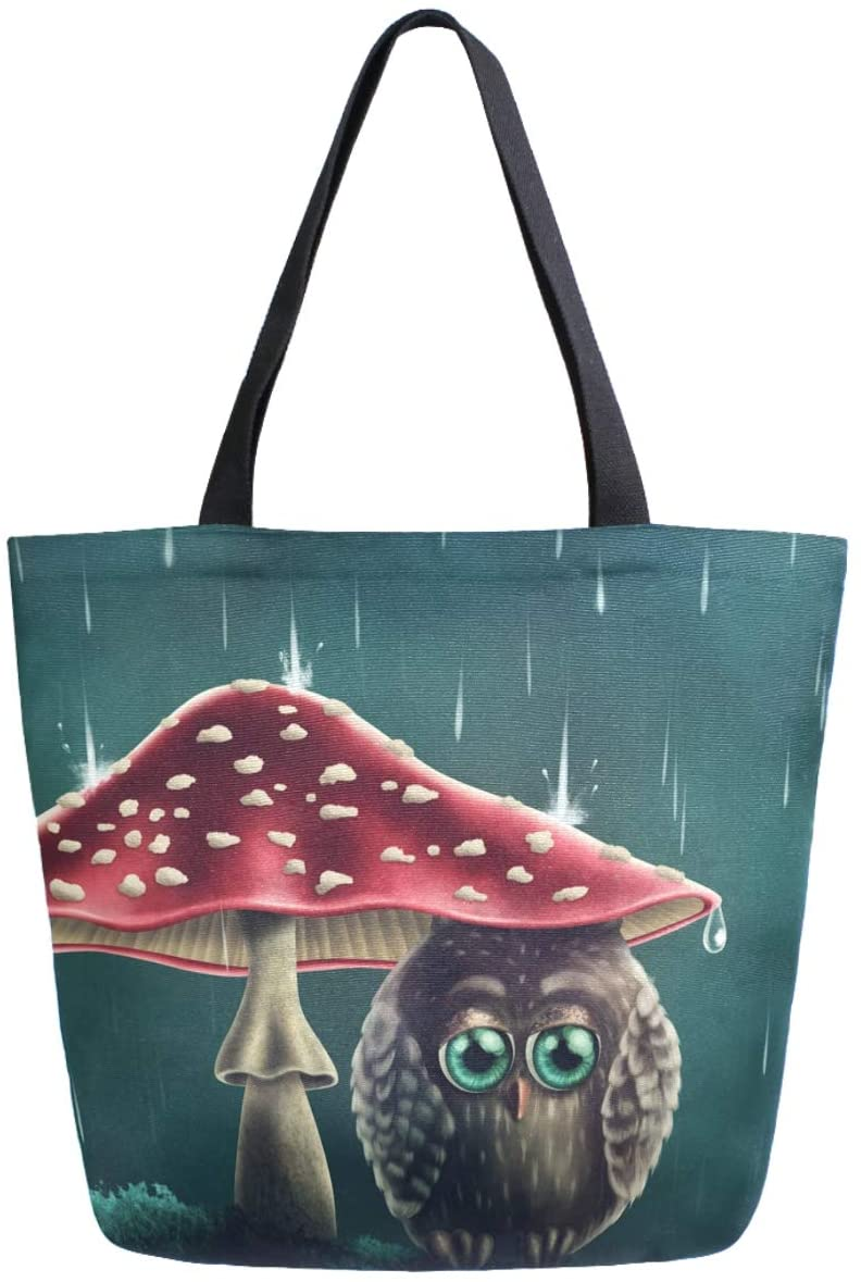 ZzWwR Cute Little Owl Sitting under Mushrooms Print Extra Large Canvas Shoulder Tote Top Storage Handle Bag for Gym Beach Weekender Travel Reusable Grocery Shopping