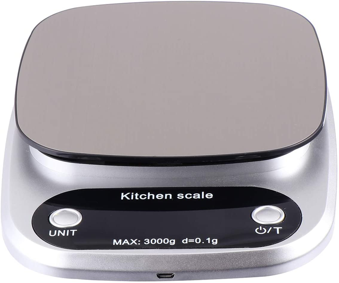 Cabilock Electronic Digital Scale Kitchen Food Scale Jewelry Scale Rechargeable 3kg 0.1g High Precision Weight Scales for Cooking Baking Silver