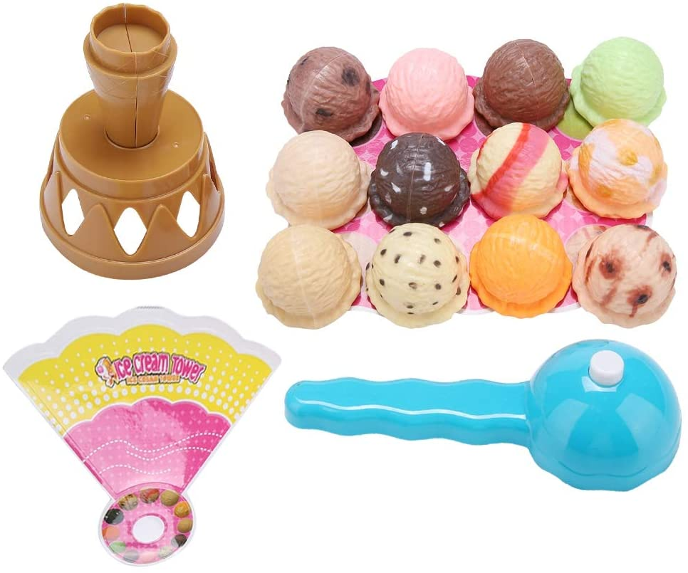 Liyeehao Plastic Ice Cream Toy, Kid Ice Cream Toy, Mellow Surface Safe Smooth Non-Toxic for Kids Toy