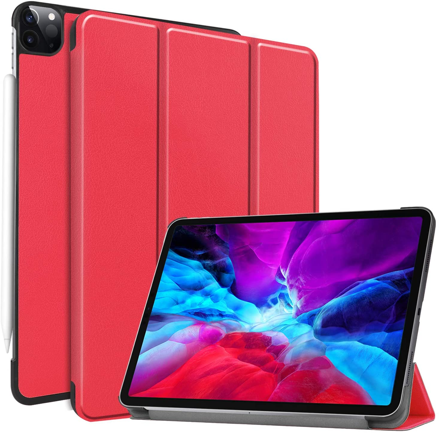 Smart Case for New iPad Pro 11 inch 2020 Case 2nd Generation, Ratesell Lightweight Smart Trifold Stand Case Cover with Auto Sleep/Wake for iPad Pro 11 2020/2018 / Model A2068, A2230 Red
