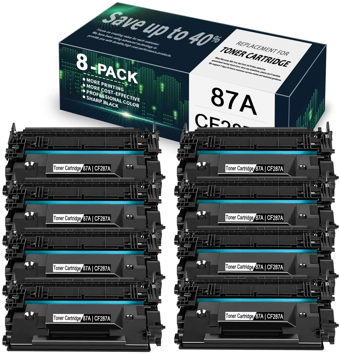 8-Pack Black 87A | CF287A Compatible Toner Cartridge Replacement for HP Laserjet Managed M506xm M501dn M506n M506dn M527z M527c M506dnm M527dn M501n M527f Printer, Toner Cartridge.