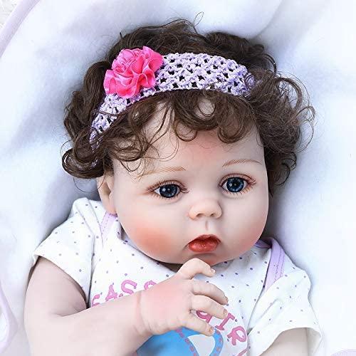 Anano 22 Inch 55 cm Full Body Soft Silicone Waterproof Real Lifelike Reborn Baby Girl Bebe Doll Reborn Bath Toy Anatomically Correct Newborn Girl