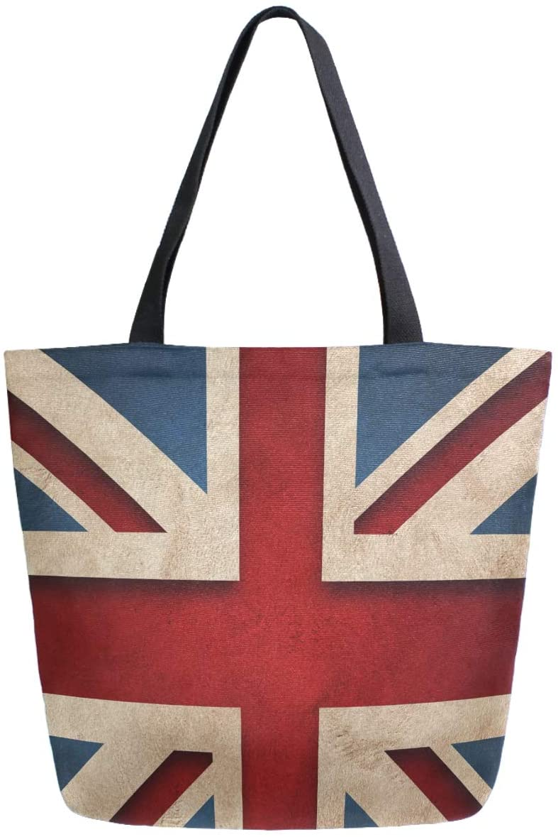 ZzWwR 3d Stylish Flag of United Kingdom Print Extra Large Canvas Market Beach Travel Reusable Grocery Shopping Tote Bag Portable Storage HandBags