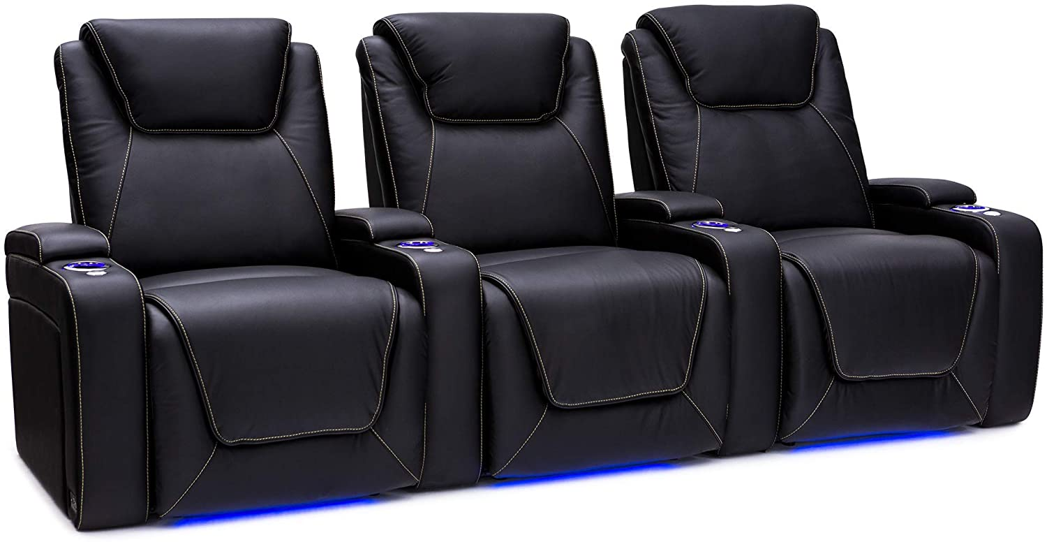 Pantheon Big & Tall Home Theater Seating - Top Grain Leather - Power Recline - Powered Headrest - Power Lumbar - SoundShaker - 400 lbs Capacity - Cupholders - Tray Table (Row of 3, Black)