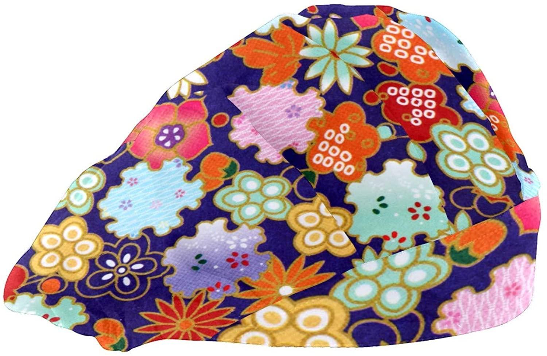 Extra Large Satin Sleep Bonnet Cap for Women & Girls, Wide Band Satin Bonnet Sleeping Night Cap & Hat for Natural Hair, Long Braids Colorful Art National Flower