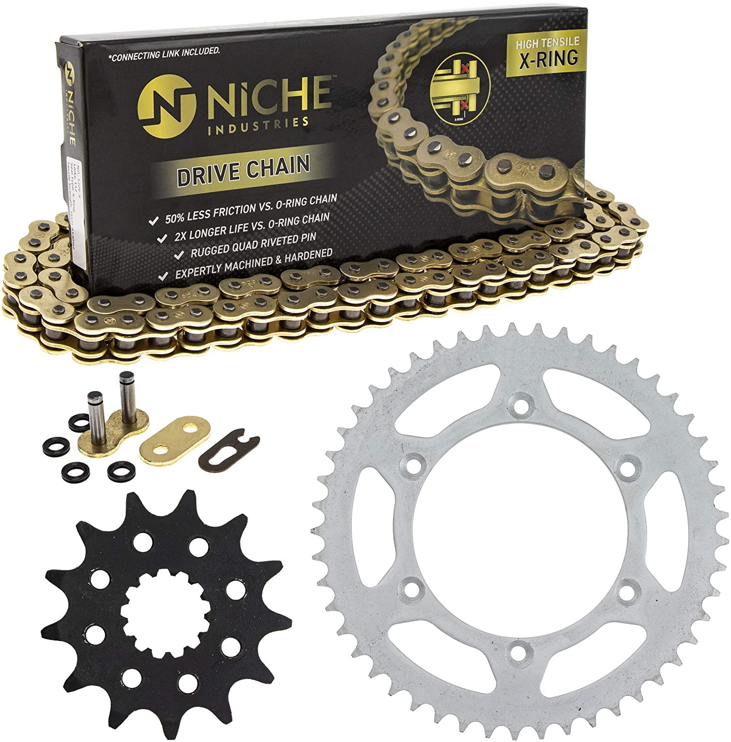 NICHE Drive Sprocket Chain Combo for Yamaha YZ450F Front 13 Rear 49 Tooth 520V-X X-Ring 114 Links
