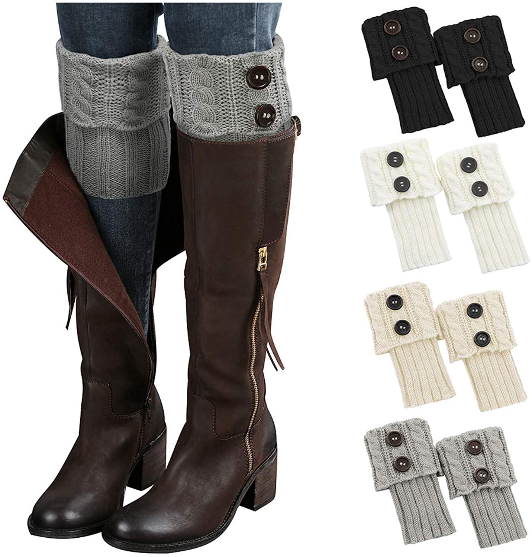 Zando Winter Womens Boot Socks Short Leg Warmers for Women Knitted Crochet Boot Cuffs Womens Warm Topper Socks