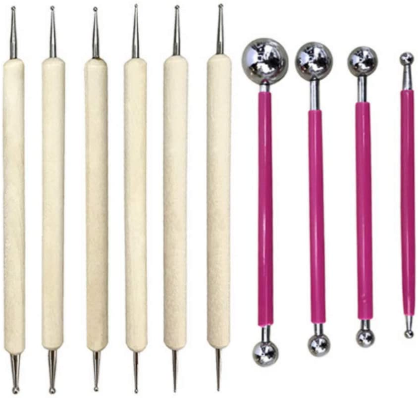 10 Pieces Ball Stylus Dotting Tools, Dotting Pen, Silicone Tips, Ball Stylus, Pottery Ceramic Clay Indentation Tools Set Also for Cake Fondant Decoration and Nail Art (1#)