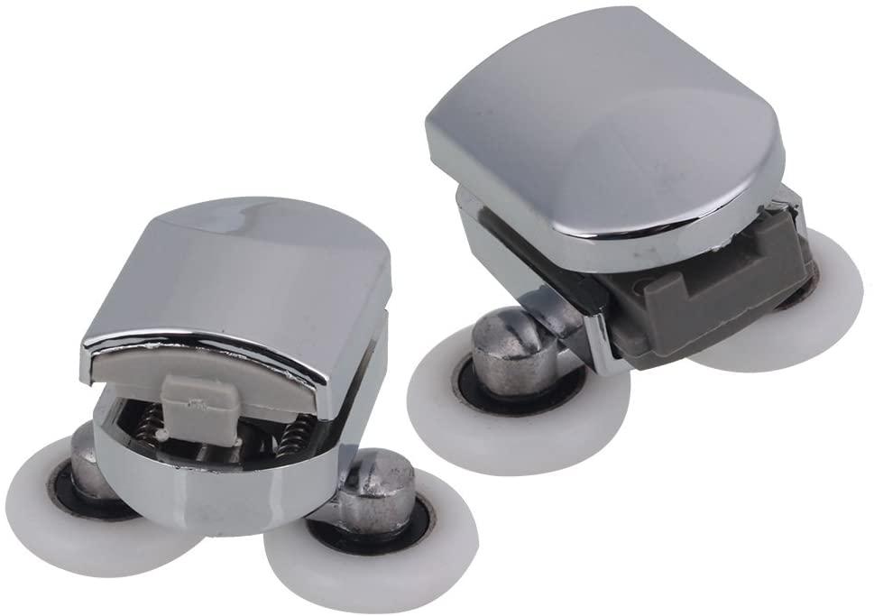 2pcs Adjustable Nylon Door Double Roller Spring Lower Wheel Runners
