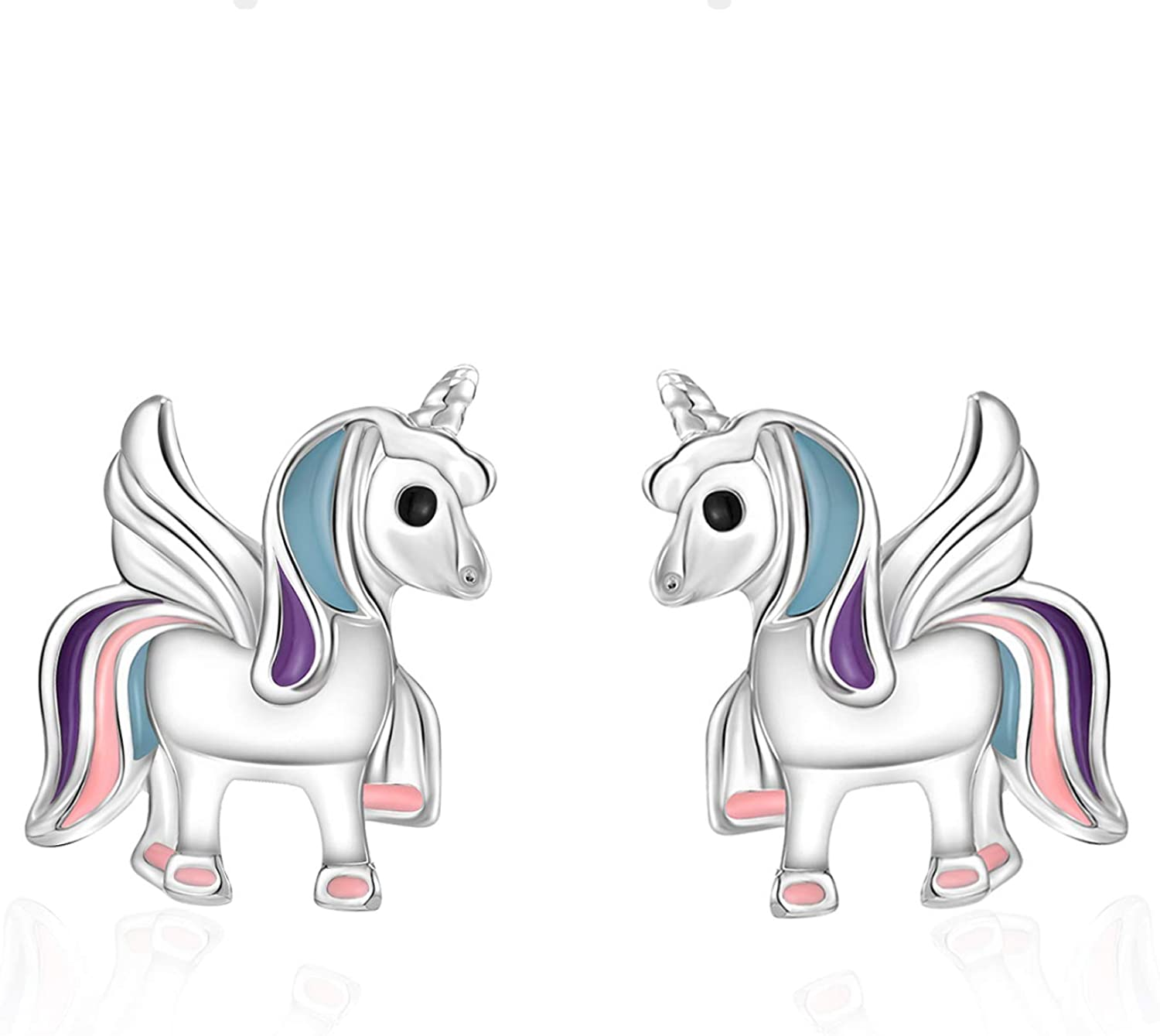 KINGSIN Unicorn Stud Earrings for Little Girls Silver Hypoallergenic Unicorn Jewelry Gifts for Daughter Sister Women Party Birthday