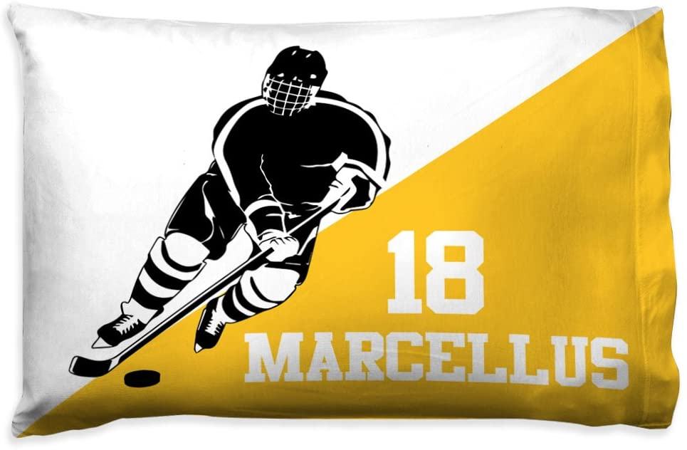 Personalized Men's Hockey Player Silhouette Pillowcase | Hockey Pillows by ChalkTalk Sports | Yellow