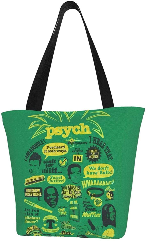 ~ Psych Pineapple Tote Bag Art Design Lovely Canvas Handbag for Women Ladies Girls