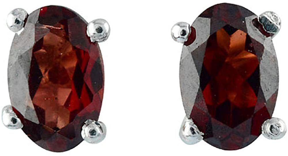 Dark Red Oval Cut 6x4mm January Birthstone Natural Garnet 1.1 ct. Gemstone in 925 Sterling Silver Stud Earring