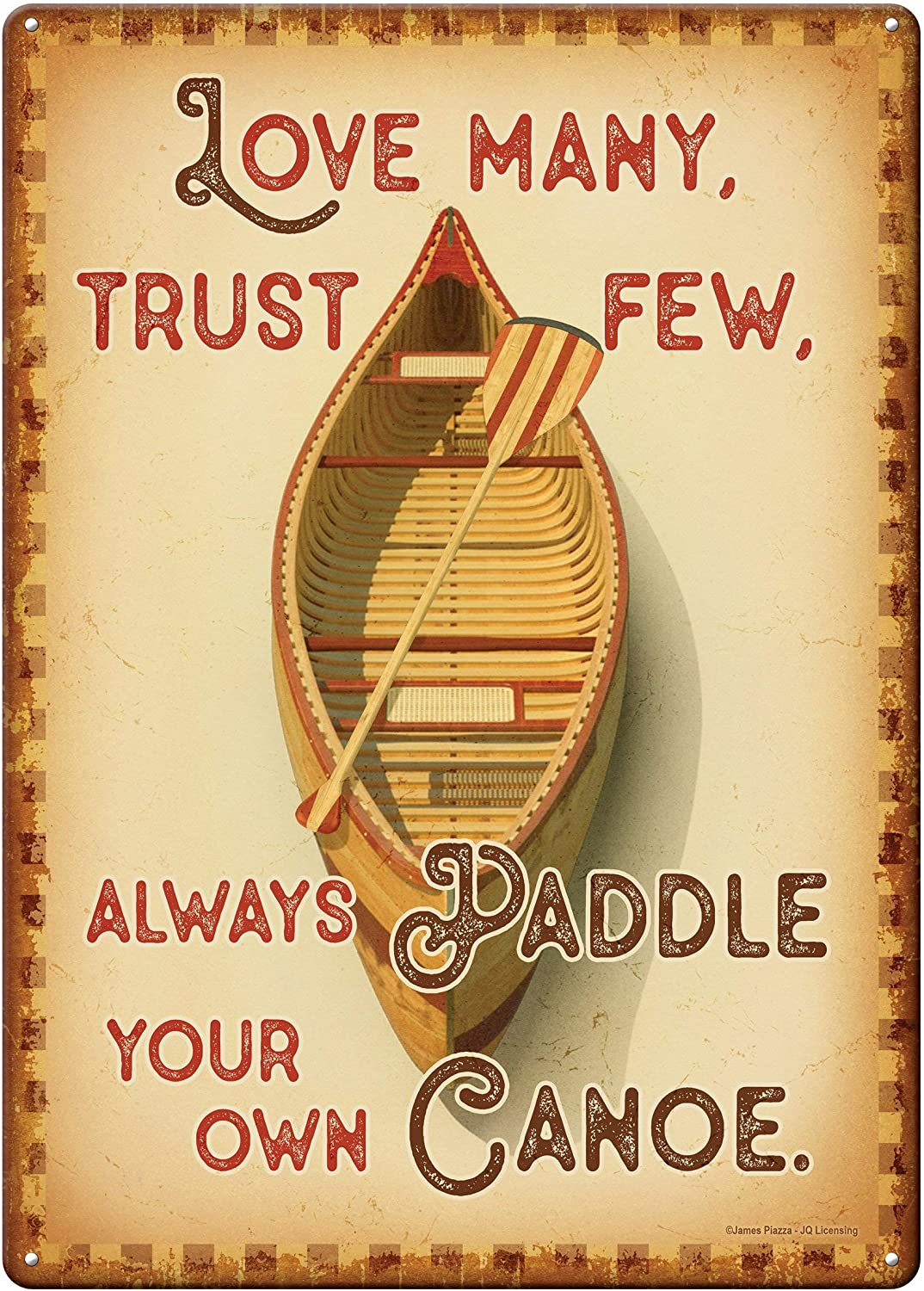PAGAIXI Unique Metal Signs Vintage Man Cave - Love Many, Trust Few, Always Paddle Your Own Canoe Tin Sign 8