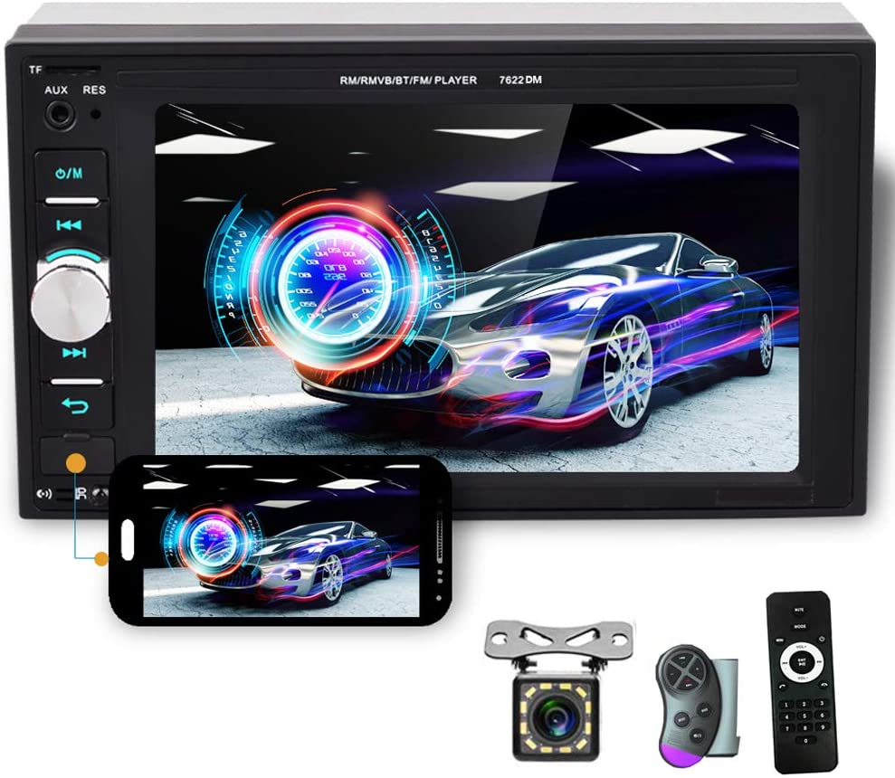 Bleutooth Car Radio Double din Car Multimedia Player 6.2 Inch Touchscreen Stereo, Car FM Radio, USB SD Crad AUX Input Port, Mirror Link, Support Steering Wheel Remote Control, Rear View Camera
