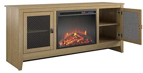 Beaumont Lane Electric Fireplace Heater TV Stand Console with Mesh Storage for TVs up to 65 in Golden Oak