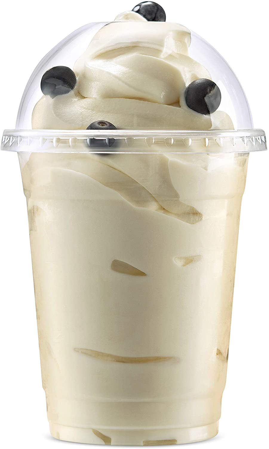 Disposable Plastic Cups with Lids by Green Direct - 12 oz. Party Cup with Dome lids for Cold Drinks - Bubble Boba - Iced Coffee - Tea - Smoothie Pack of 100