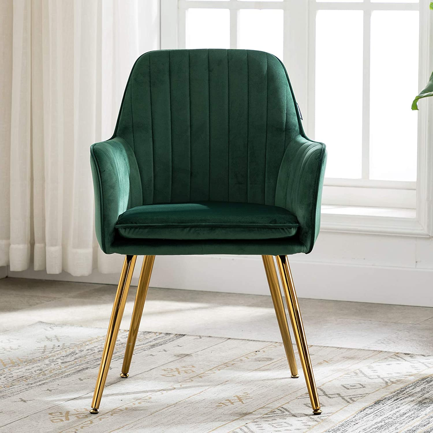 Artechworks Accent Living Dining Room Velvet Arm Chair Club Leisure Guest Lounge Bedroom Upholstered Chair with Gold Metal Legs, Green