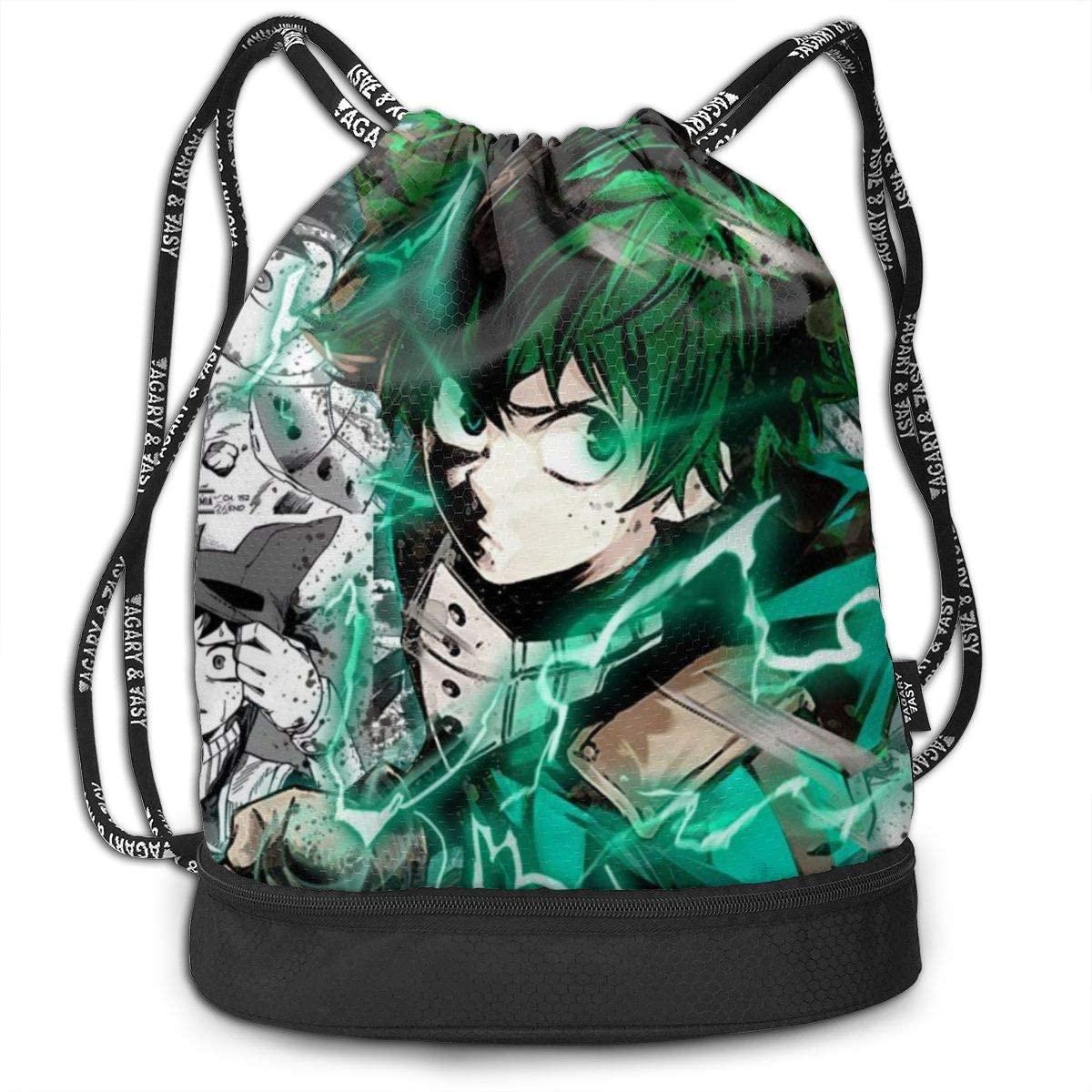 Teens Adults Drawstring Bag Waterproof Laptop Backpack My Hero Academia Kids Backpacks Durable Sackpack for Outdoor Hiking Beach Gym