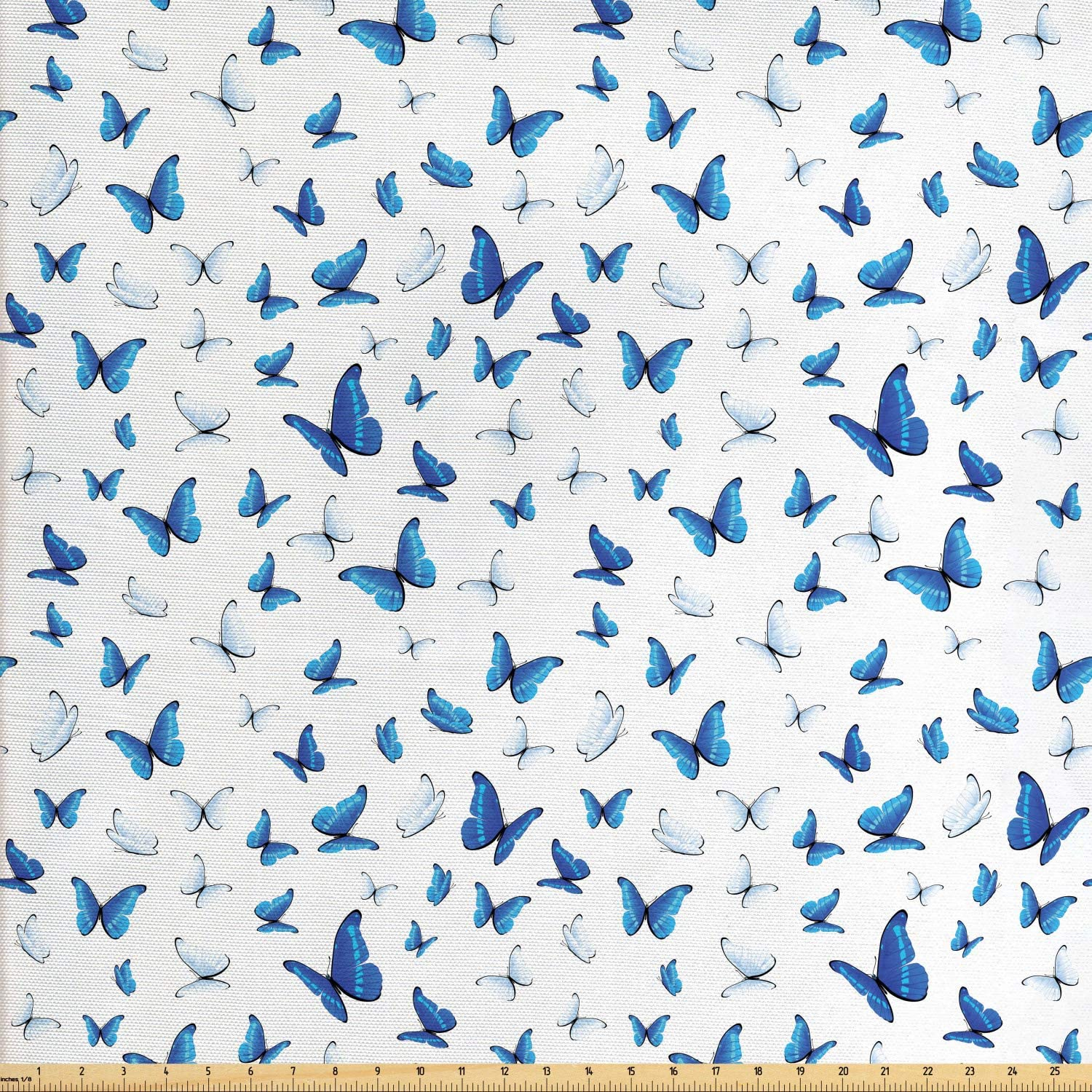 Ambesonne Butterflies Fabric by The Yard, Butterflies Patterns Seasonal Jolly Rainforest Wilderness Illustration, Decorative Fabric for Upholstery and Home Accents, 3 Yards, Black White