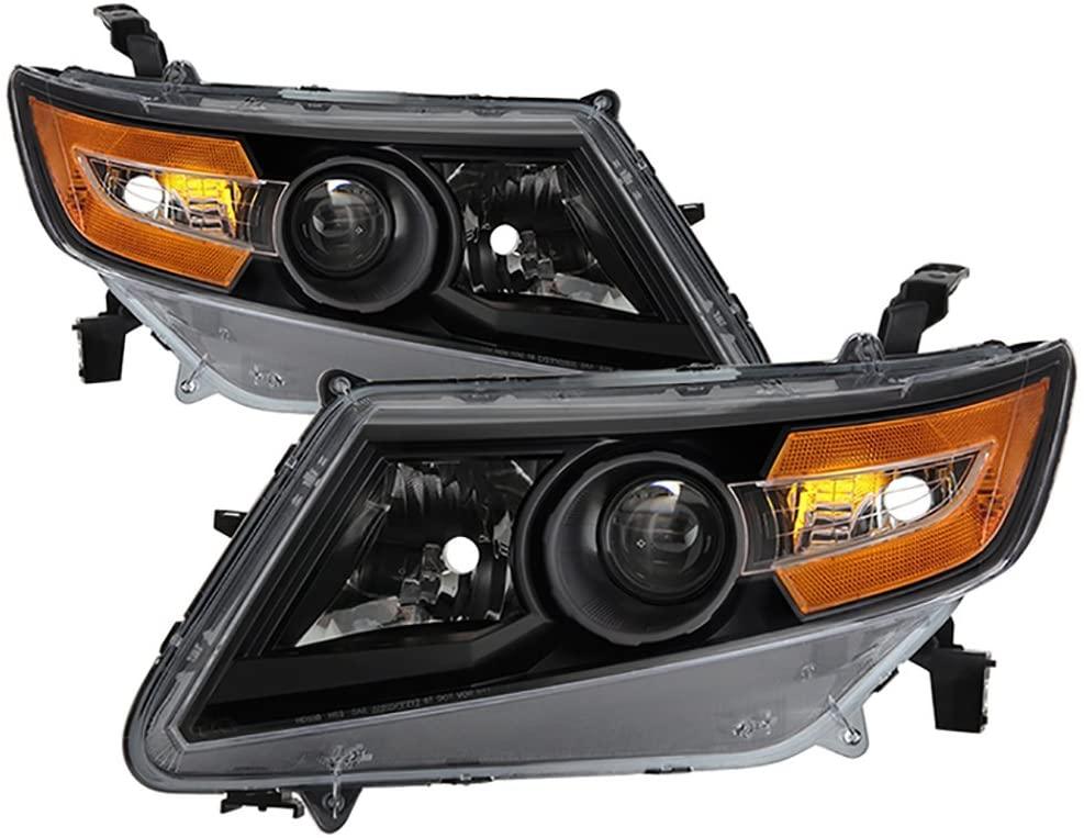 VIPMOTOZ Black Housing OE-Style Headlight Headlamp Assembly For 2011-2017 Honda Odyssey Minivan Halogen Model, Driver & Passenger Side
