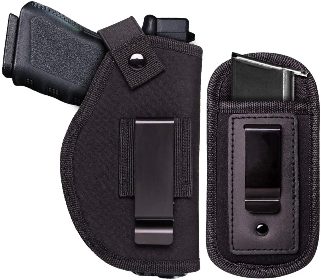 JIEDE Universal Gun Holster for Concealed Carry | IWB Pistols Holster & Clip Magazine Holster for Men & Women | Fits Glock 19 17 26 43 S&W M&P Shield 9mm Ruger LC9 Springfield XD and More