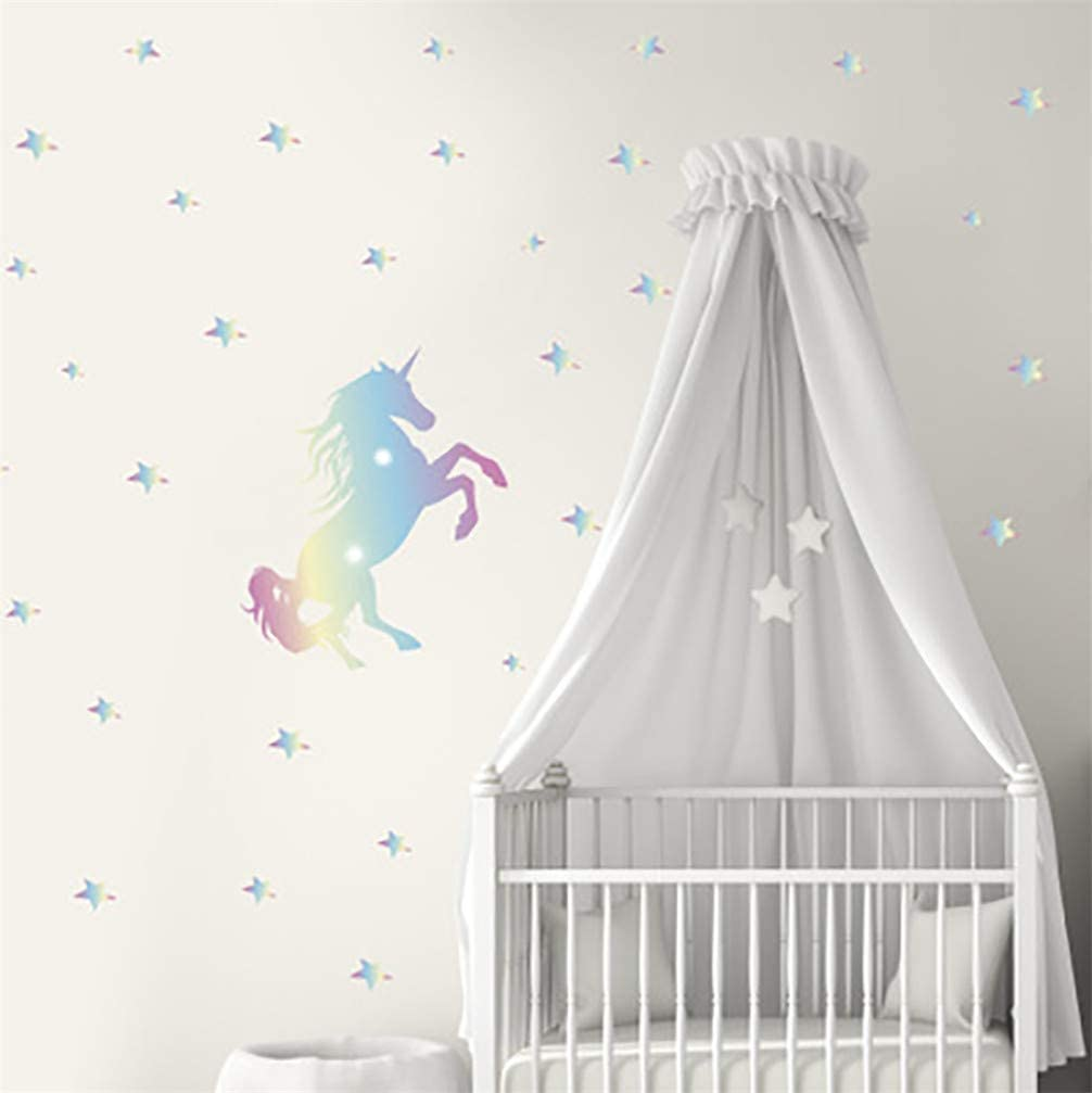 WANLING Wall Sticker Unicorn Stars Colorful Wall Decal Removable PVC Decoration for Home Bedroom Living Room Kids Room Nursery Decor