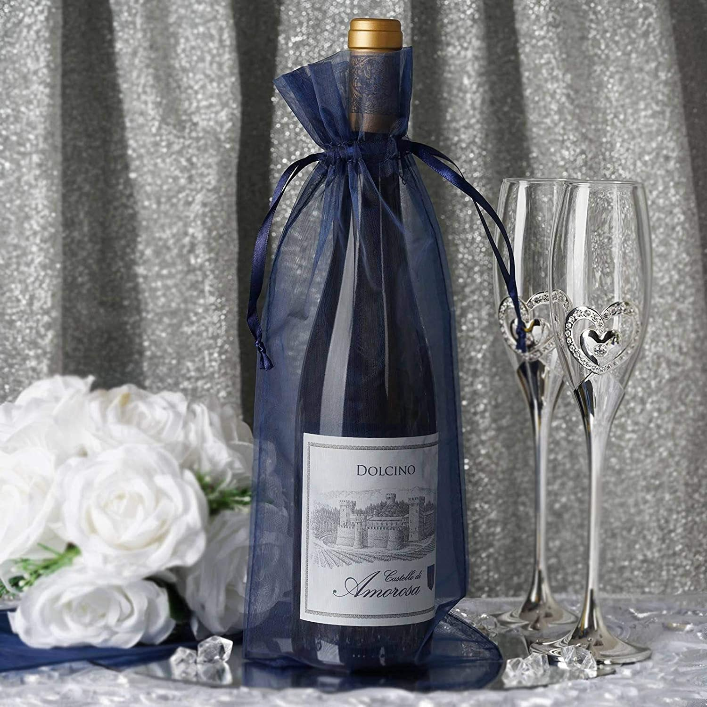 Efavormart 10PCS Navy Blue Organza Gift Bag Drawstring Pouch Wedding Favors Bridal Shower Treat Jewelry Bags - 6