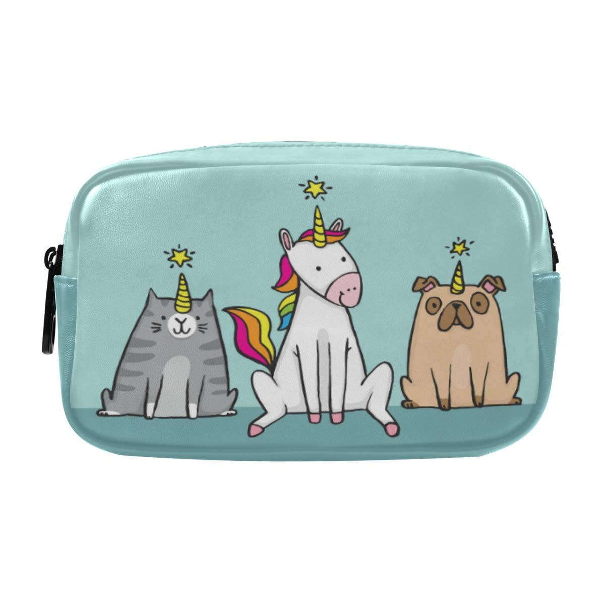 ALAZA Unicorn Cat and Pug Dog Cosmetic Bag Leather Pencil Case Waterproof Portable Travel Makeup Pouch with Zipper for Women Girls Teens