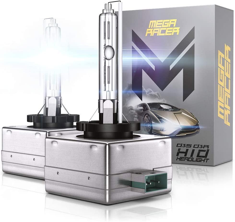 Mega Racer D3S HID Bulb 6000K - D3C/D3R/D3S Headlight for Low Beam High Beam 12V 35W 6000K Diamond White IP68 Waterproof, Pack of 2