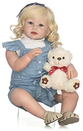 Anano Real Feels Toddler Dolls Girl Silicone Toddlers Princess Doll 28 Inch Babies Realistic with Blonde Hair Silicone Vinyl Weighted Body Dolls