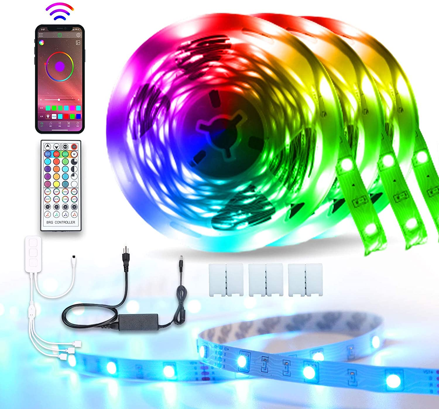 50FT/15m LED Strip Lights, Sumkyle RGB LED Light Strip Bluetooth Music Sync with IR Remote Controller, 5050 SMD Color Changing LED Strip Light for Bedroom, Party, Home, TV