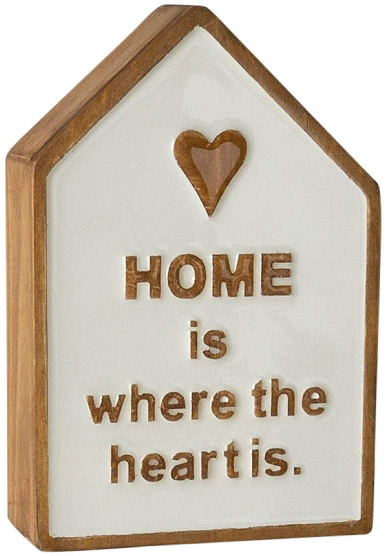 Home is Where The Heart is Wooden Sign - 3D Block Sign for Tabletop or Wall Decor - Family Wall Decor - Home Decor Signs WD. Tabletop Decor Home
