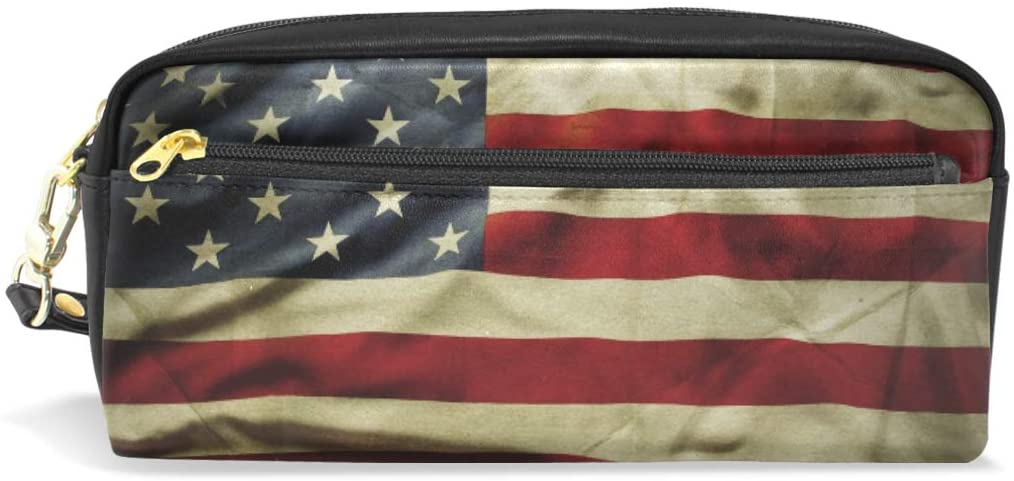 Pencil Case Big Capacity Pencil Bag Makeup Pen Pouch American Flag Durable Students Stationery Pen Holder for School/Office