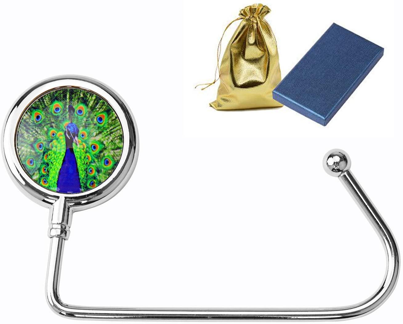 Purse Hooks, BEAVOING Purse Hooks for Table Handbag Desk Bar, Women Bag Purse Hanger Holder(Peacock)