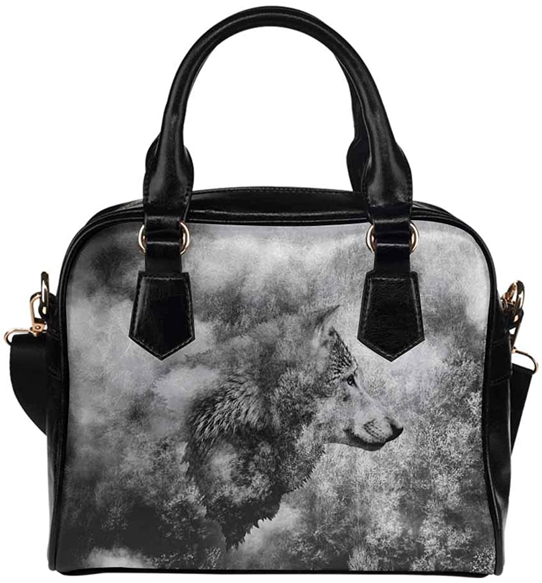 INTERESTPRINT Black and White Collage Wolf Head Women's Casual Bag Shoulder Bag PU Leather Handbags