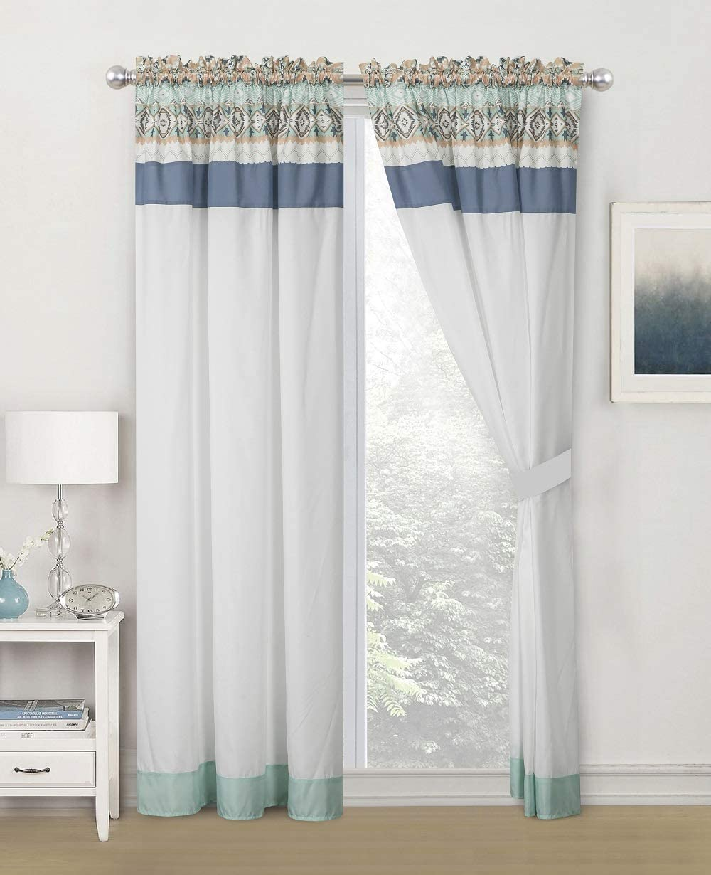 WPM WORLD PRODUCTS MART 4 Pieces Curtain Set: Light Teal Mint Green Blue Color Luxury Embroidery Panels Drapes with tie Backs for Southwestern Navajo Room Windows- Molly
