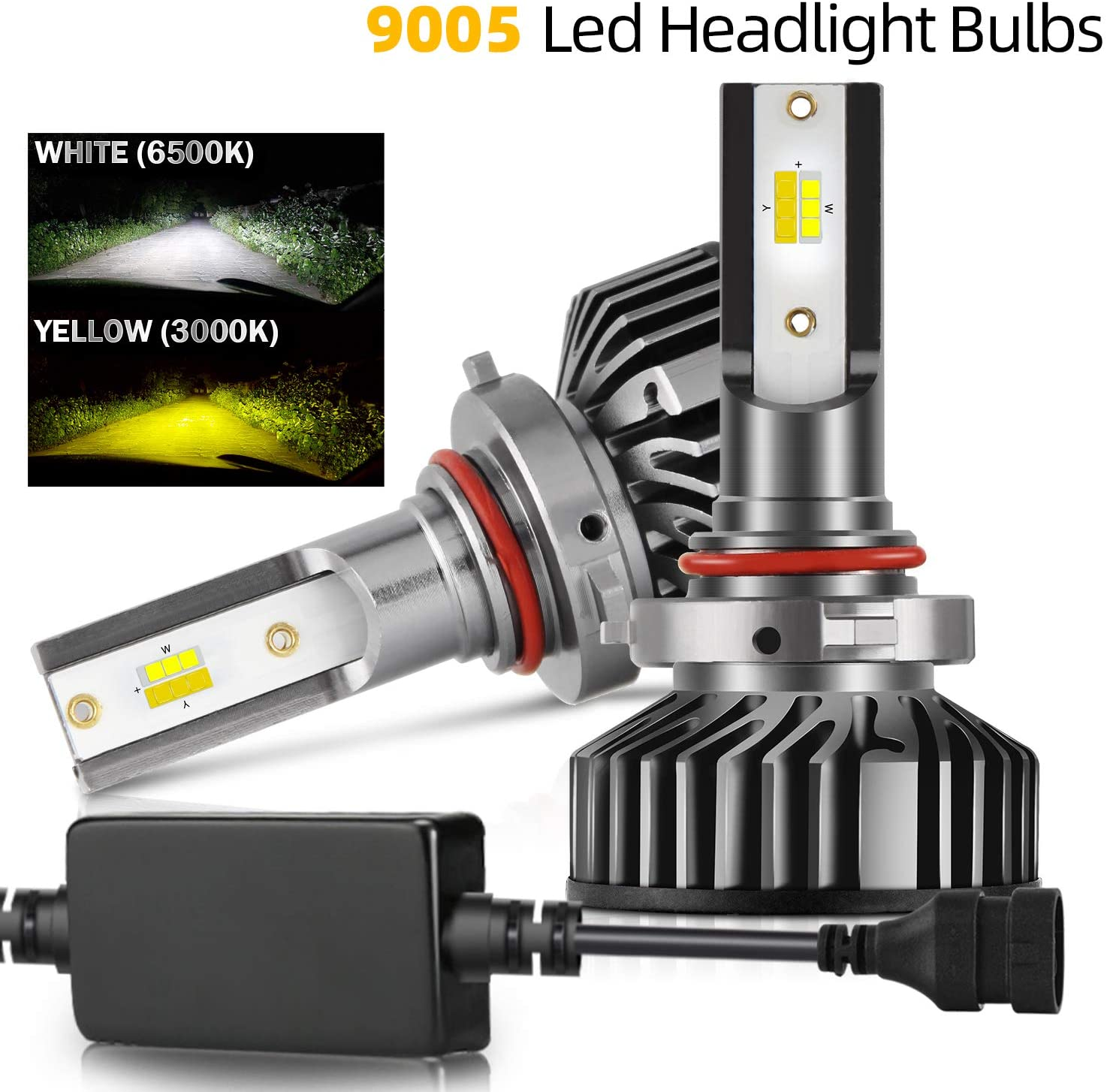 COLIGHT LED Headlight Bulbs Conversion Replacements Yellow Amber 3000K White 6000K Dual Color Temperature 72W 12000lumens Hi/Lo Beam DRL Waterproof ZES Chips Fog Lights (9005-F2D-SS)