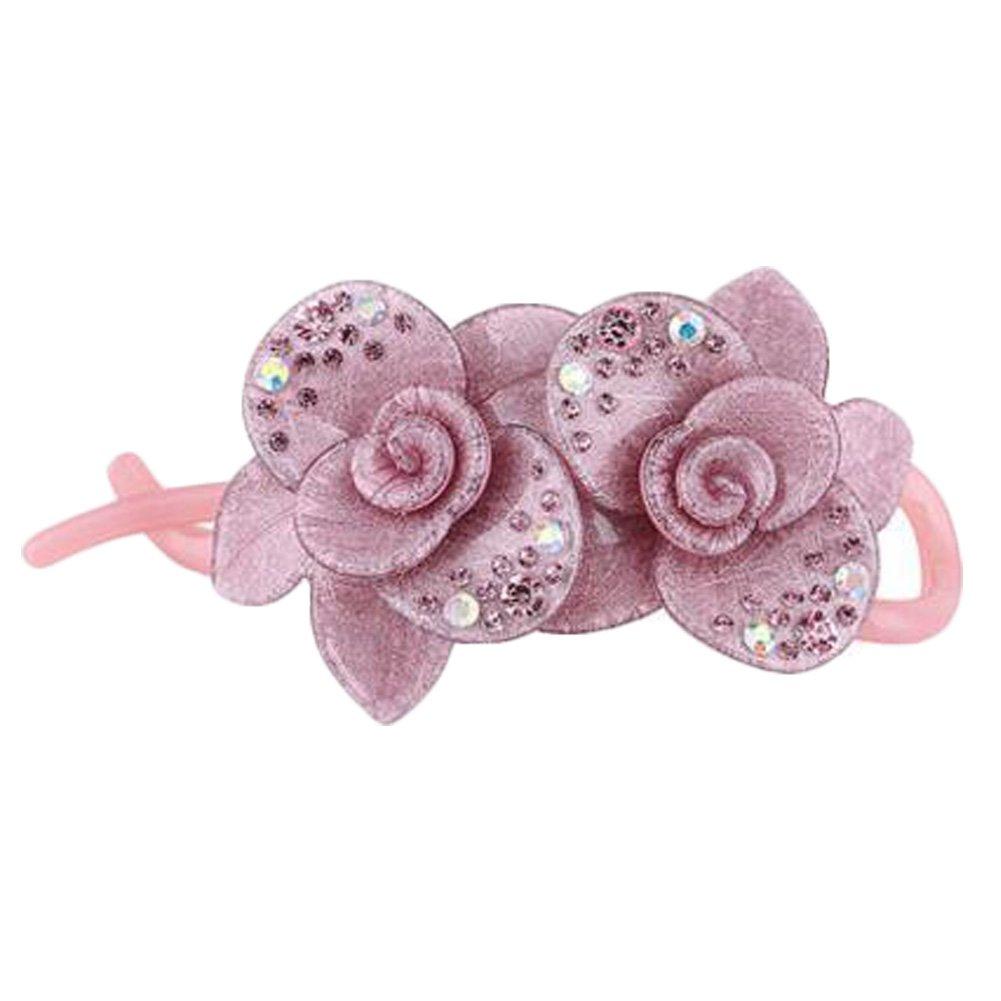 Korean Style Elegant Flower Shape Hair Clips Hair Accessories For Women, Purple-pink