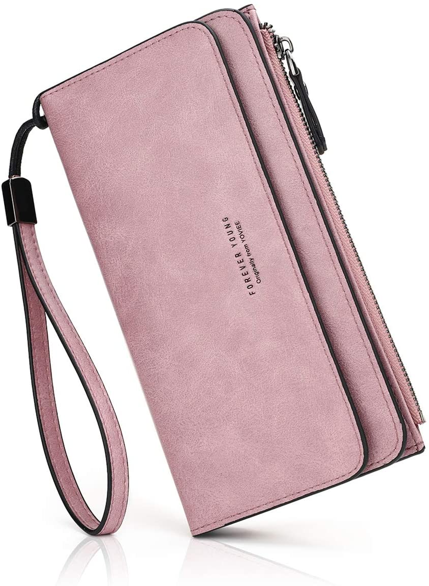 Wallets for Women RFID Blocking Credit Card Holder Cases 16 Slots Long Coin Purse Wristlet Strap 1810 (PURPLE)