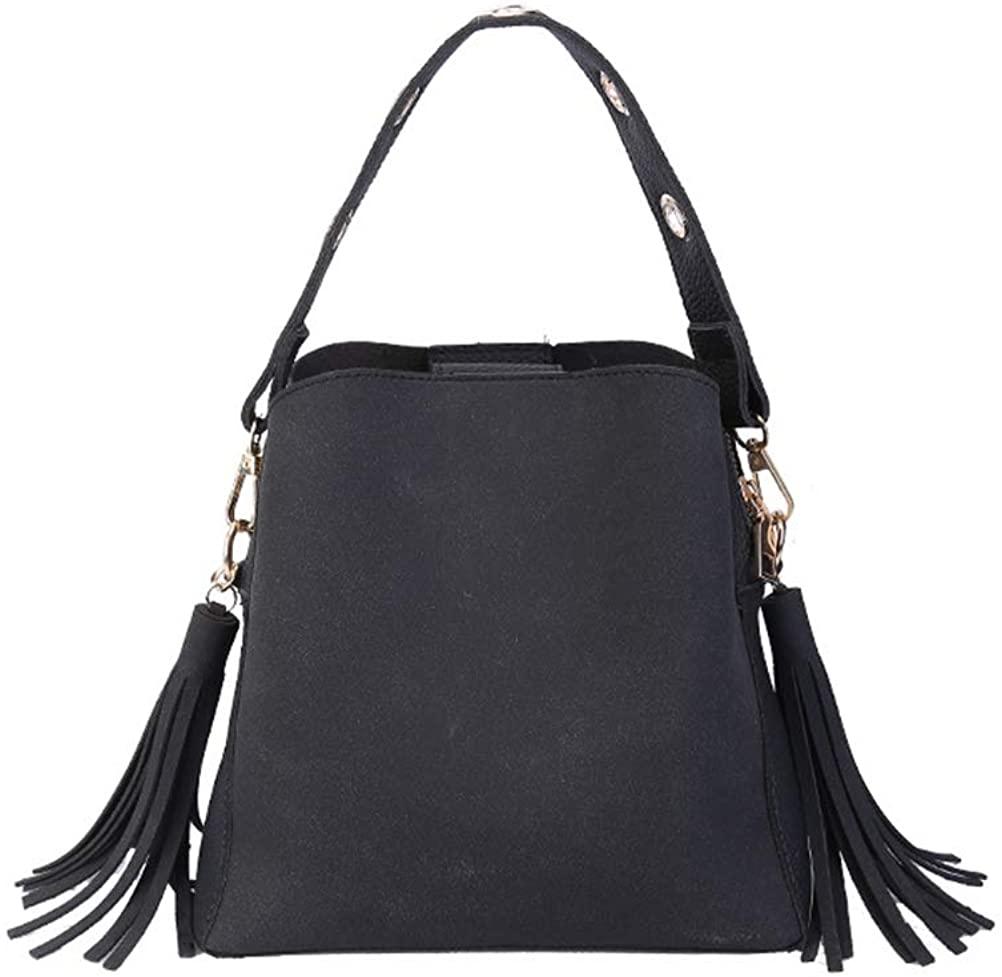 FENICAL Women Bucket Bag Top-Handle Bag with Tassel Cross-body Bag Shoulder Bag