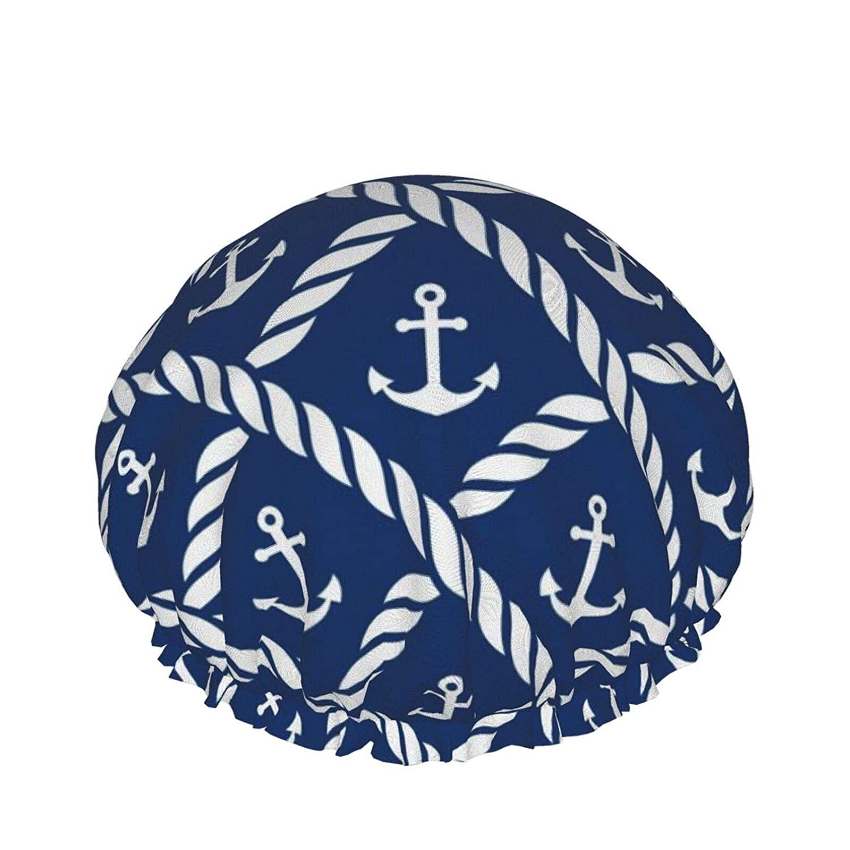 Double Waterproof Layers Shower Cap, Nautical Anchor Chevron Net Navy Shower Caps For Women, Double Waterproof Layers Bathing Shower Hat Hair Protection Eva Shower Caps Reusable, Medium Size