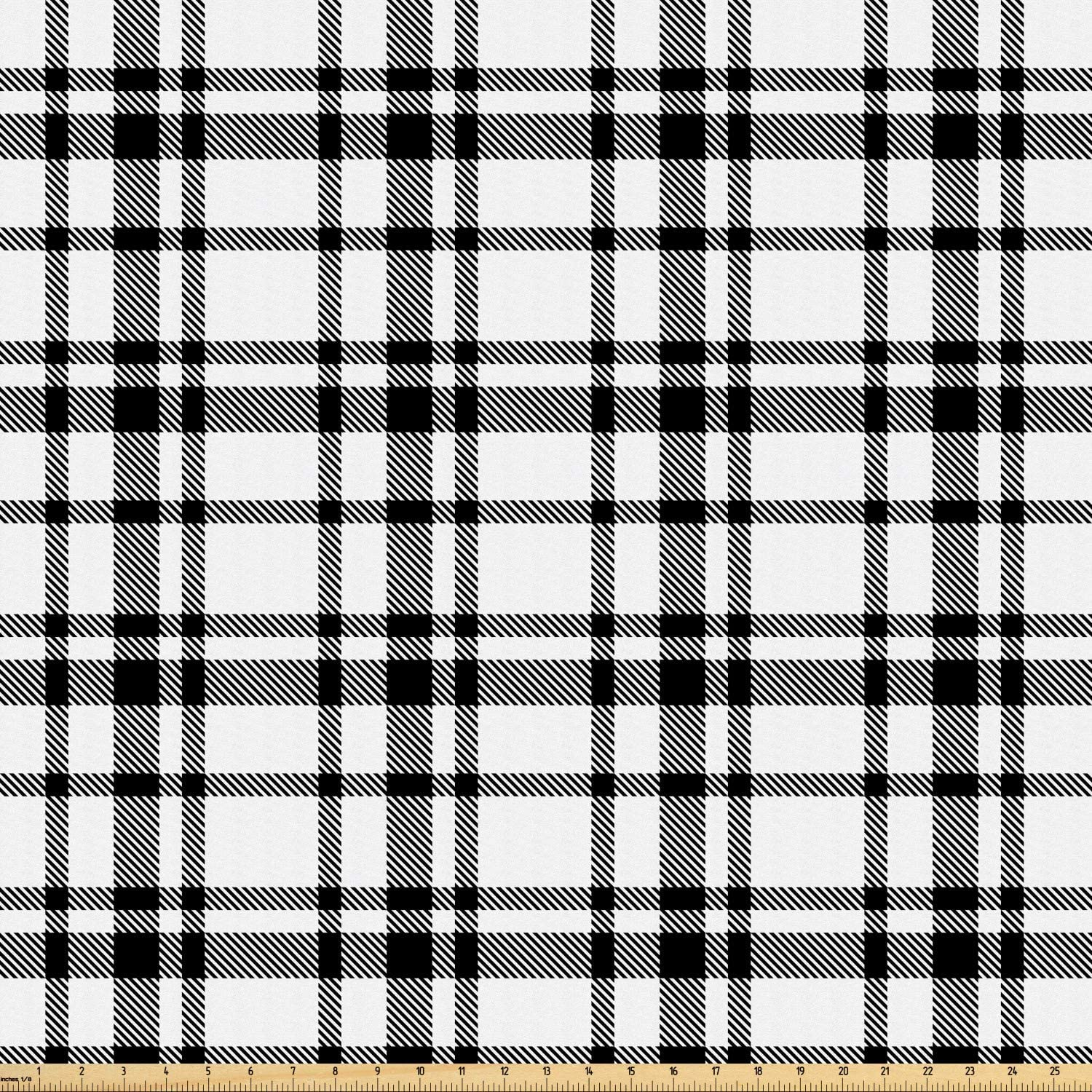 Ambesonne Plaid Fabric by The Yard, Black and White Tartan Pattern Graphic Grid Art Design with Traditional Influences, Microfiber Fabric for Arts and Crafts Textiles & Decor, Black White