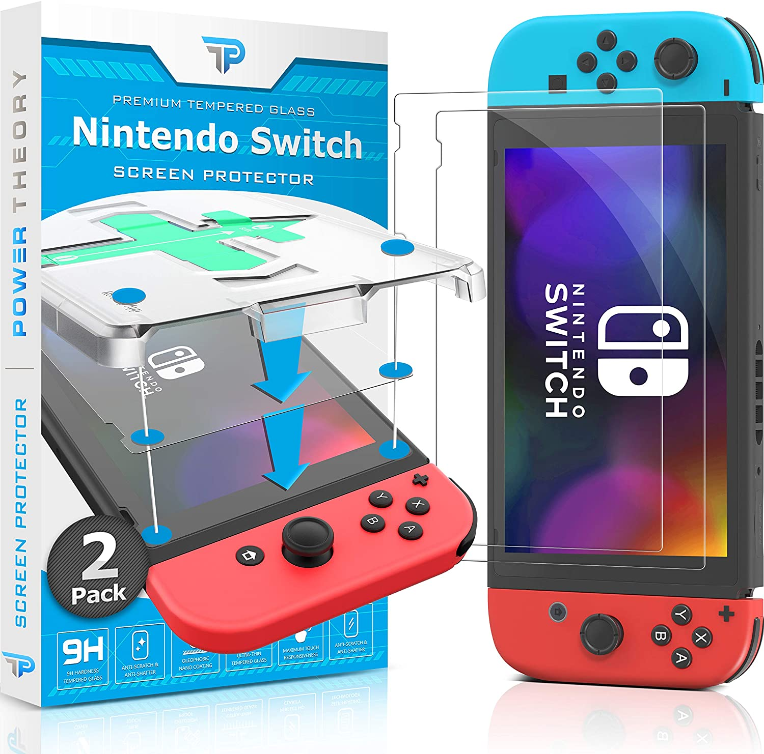 Power Theory Screen Protector compatible with Nintendo Switch [2-Pack] with Easy Install Kit [Premium Tempered Glass for Switch Console]