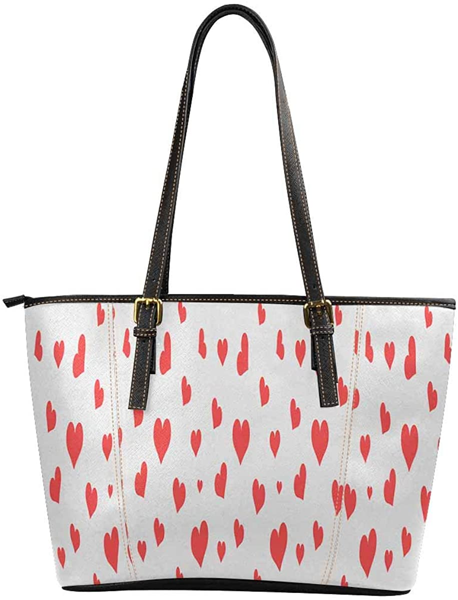 INTERESTPRINT Red Heart Florals Women Tote Bag Fashion Shopping PU Tote Bags
