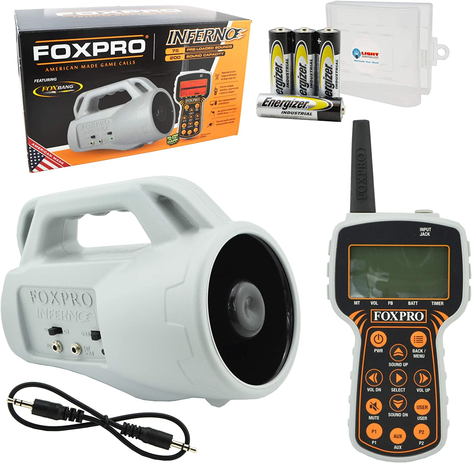 FOXPRO Inferno Hunting Predator Game Calls Electronic American Made Pack Bundle with 4 AA Batteries and Lightjunction Battery Box