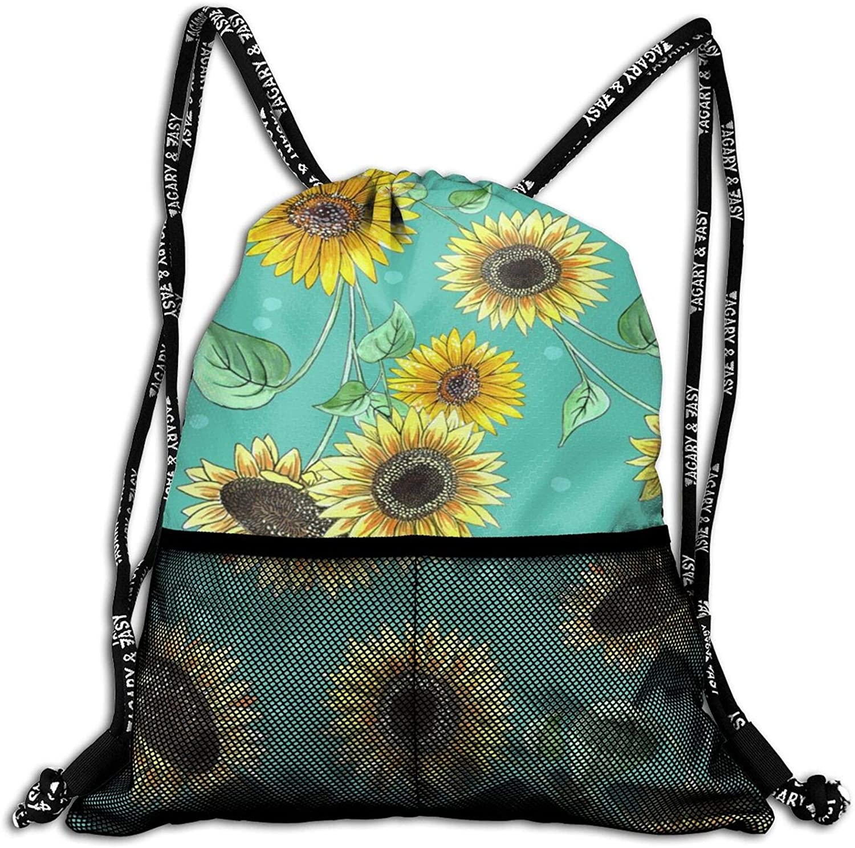 Pretty Sunflower Drawstring Bag, Waterproof Lightweight Sport Gym Sackpack, Shoulder Backpack for Boy Girls Teens Shopping Hiking Yoga Gym Swimming Travel Beach