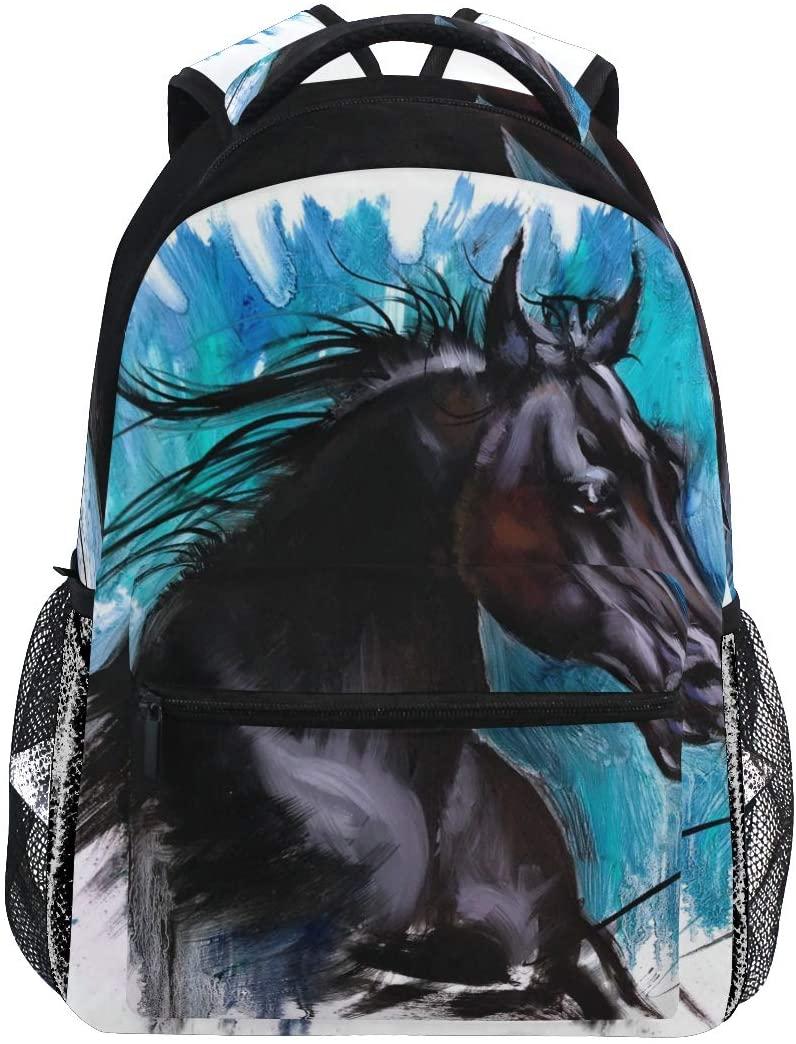 School Backpack Beauty Horse Bookbag for Boys Girls Teens Casual Travel Bag Computer Laptop Daypack